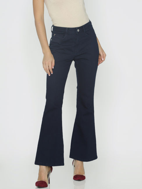 Dark Blue High Rise Flared Jeans