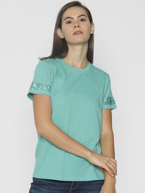 Green Embellished Sleeves T-shirt