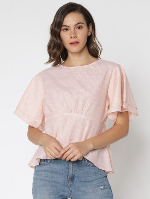 Rose Shimmer Striped Top