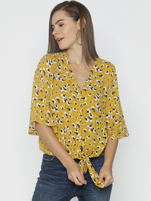 Mustard All Over Print Top