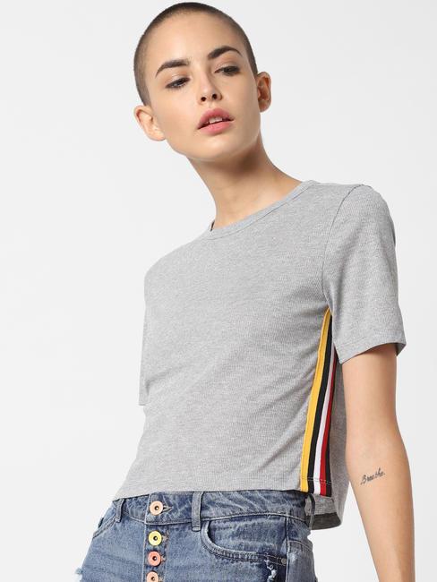 x Tokidoki Grey Tape Detail Crop T-Shirt