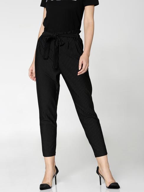 Black High Rise Paper Bag Waist Pants