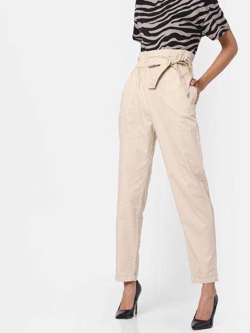 Cream Paperbag Waist Pants