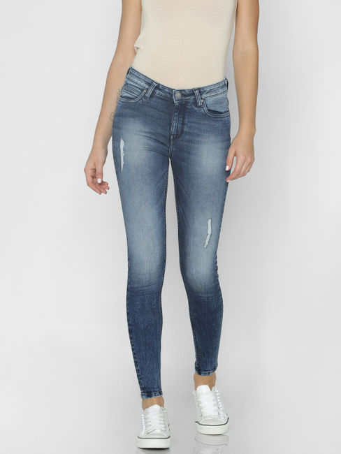 Blue Mid Rise Mildly Distressed Skinny Fit Jeans