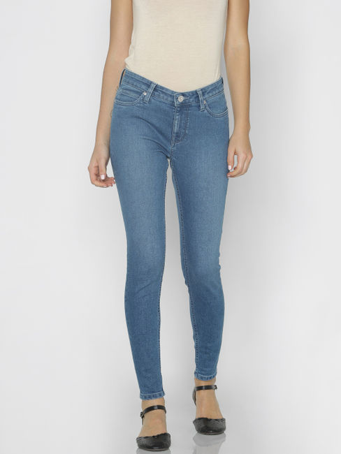 Blue Mid Rise Skinny Fit Jeans