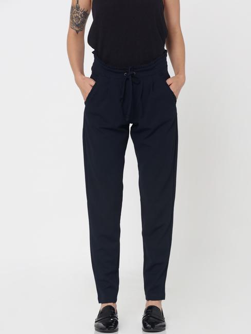 Blue Mid Rise Paper Bag Waist Ankle Length Pants