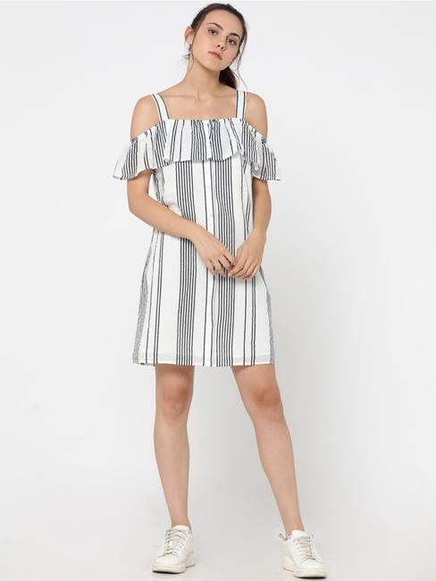 White Striped Ruffle Detail Cold Shoulder Mini Dress