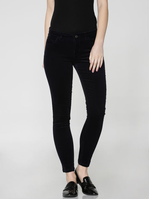 Dark Blue Mid Rise Cord Skinny Fit Pants