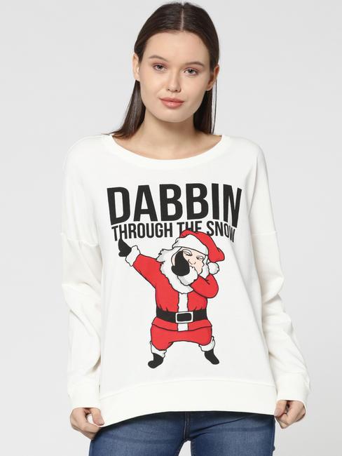White Santa & Text Print Sweatshirt