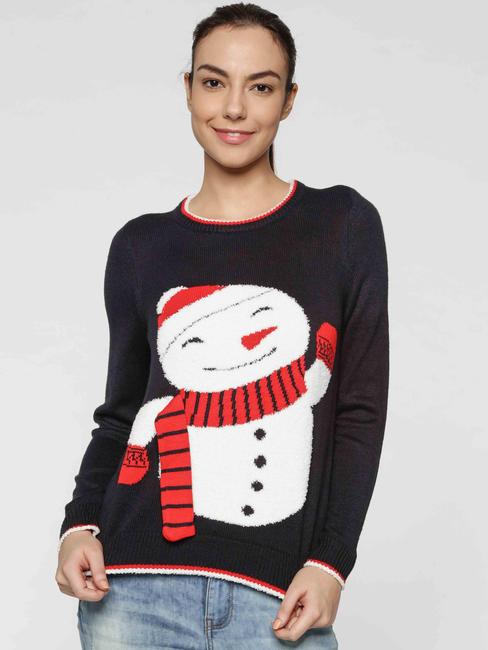Dark Blue Snowman Print Pullover