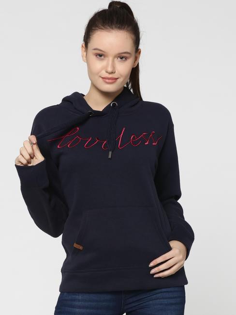 Blue Text Print Hooded Sweatshirt