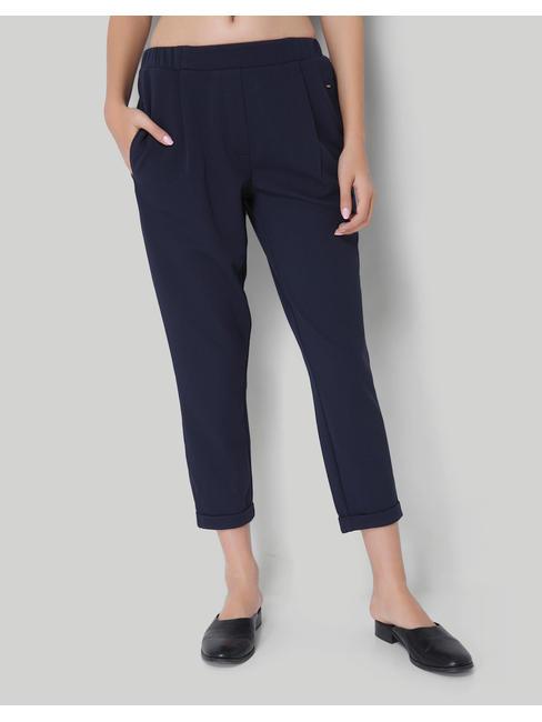 Navy Blue Comfort Fit Ankle Length Pants