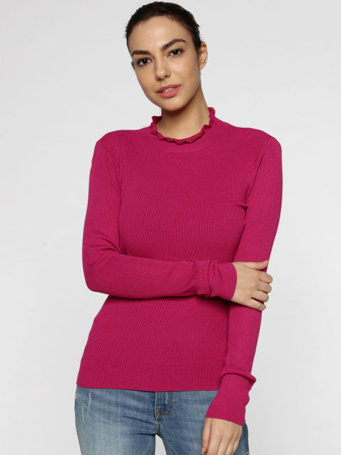 Pink High Neck Ribbed Pullover