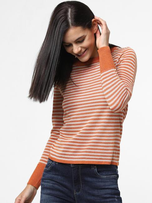 Orange Striped Pullover