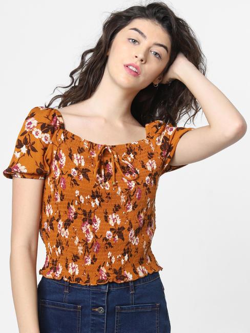 Orange Floral Print Smock Top