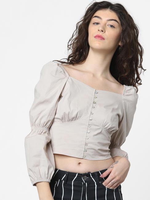Grey Cinched Sleeves Top