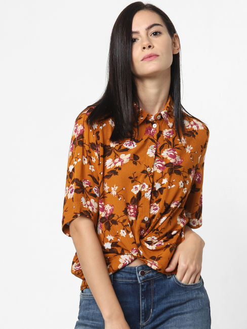 Orange Floral Print Twist Shirt