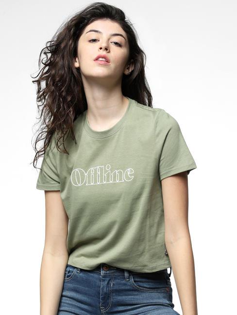 Green Offline Text Print T-shirt