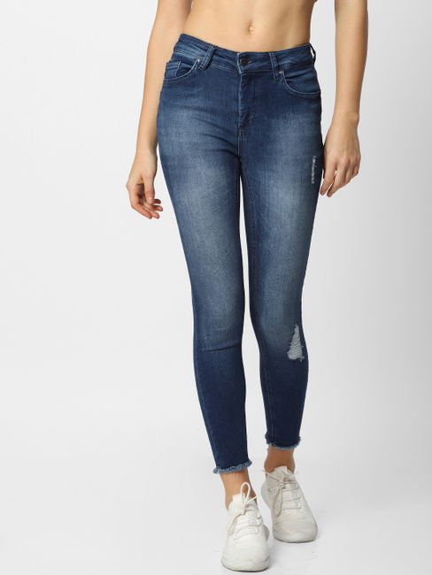 Blue Distressed Mid Rise Skinny Fit Jeans