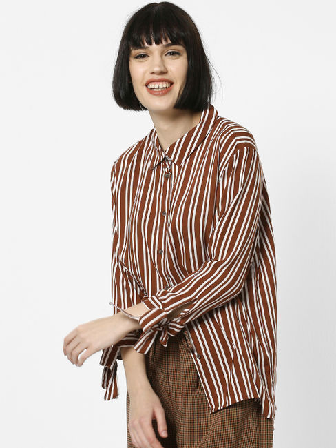 Brown Striped Knot Sleeves Shirt