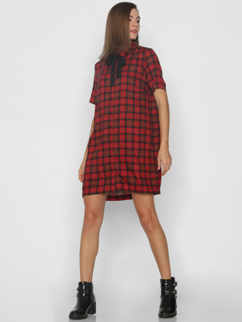 Red Check Bow Detail Shift Dress