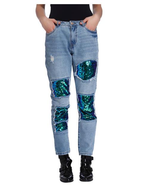 Blue Mid Rise Sequin Patch Regular Fit Jeans