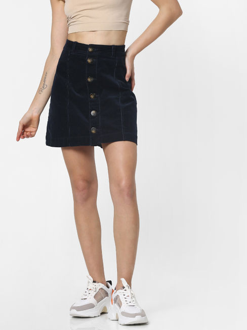 Navy Blue High Rise Corduroy Skirt