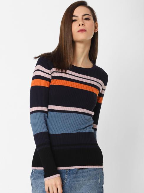 Blue Colourblocked Ribbed Pullover