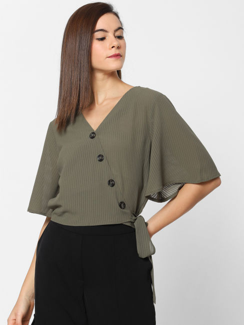 Dark Green Wrap Top