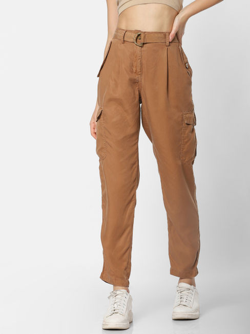 Brown Mid Rise Cargo Pants
