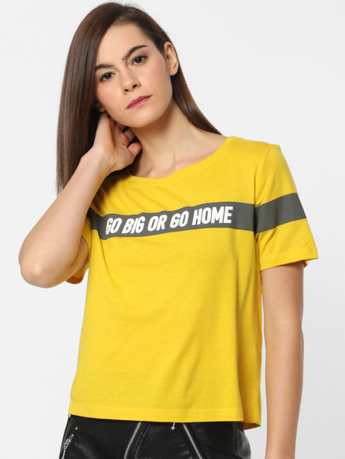 Yellow Slogan Print T-shirt