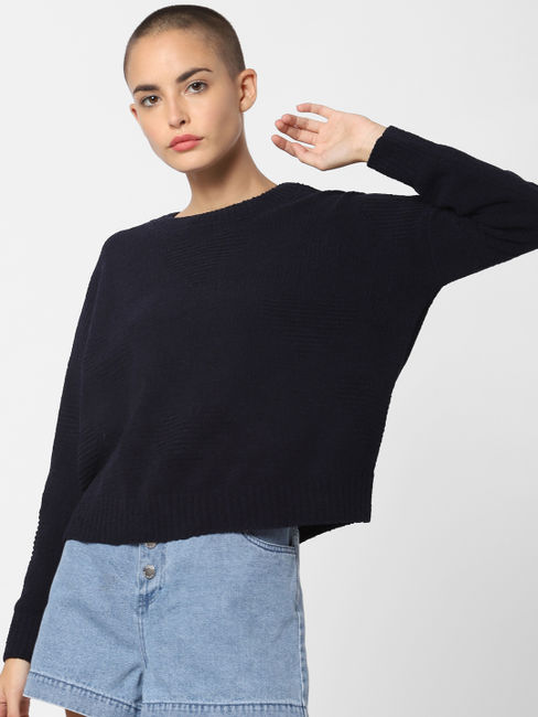 Navy Blue Loose Fit Pullover