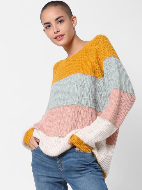 Yellow Colourblocked Pullover