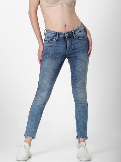 Blue Mid Rise Acid Washed Skinny Jeans