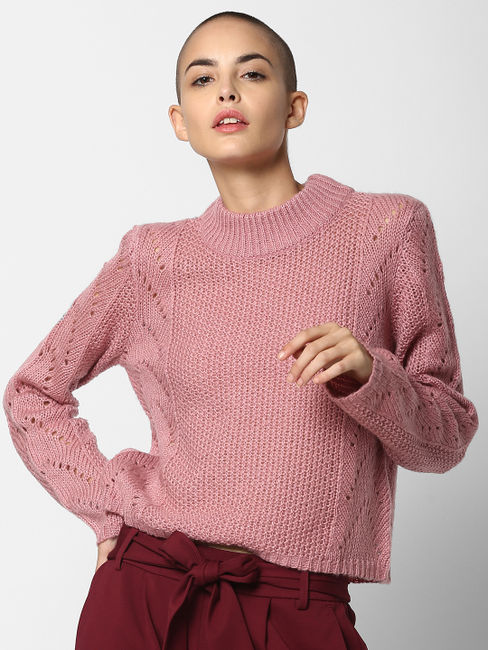 Pink High Neck Pullover