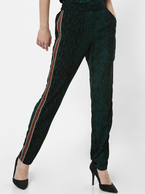 Green High Rise Animal Print Pants
