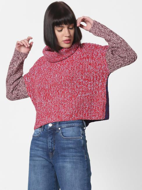 Purple Colourblocked High Neck Pullover