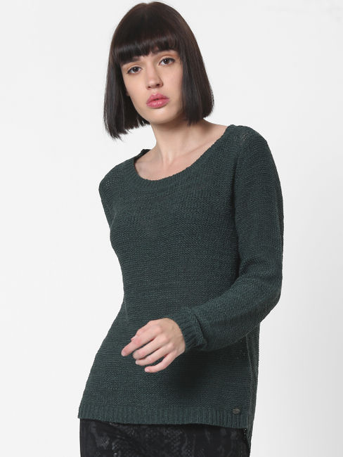 Dark Green Fitted Pullover