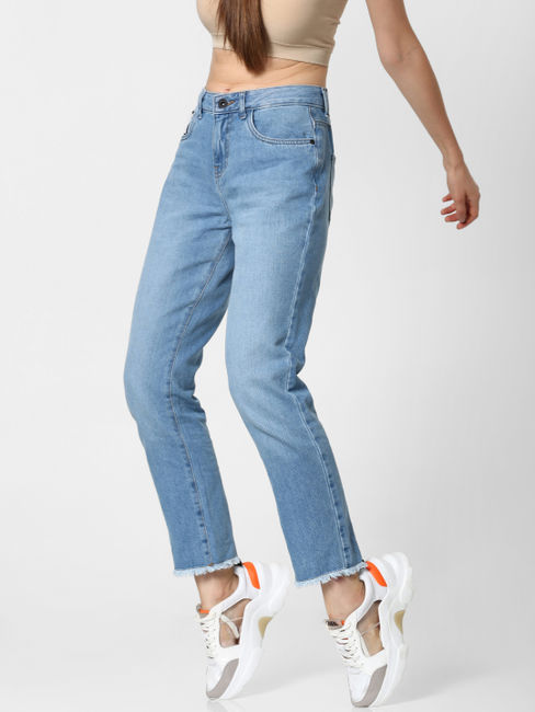 Blue High Rise Frayed Hem Straight Fit Jeans