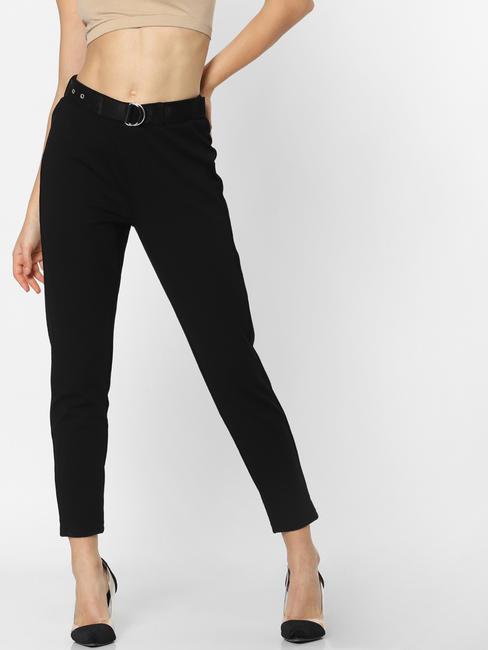 Black Mid Rise Belted Skinny Pants
