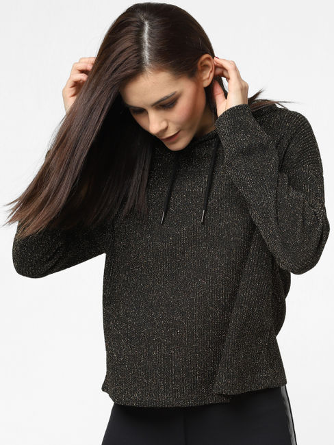 Black Shimmer Hooded Top
