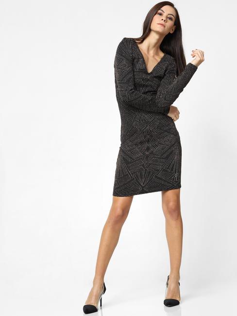 Black Shimmer Printed Bodycon Dress