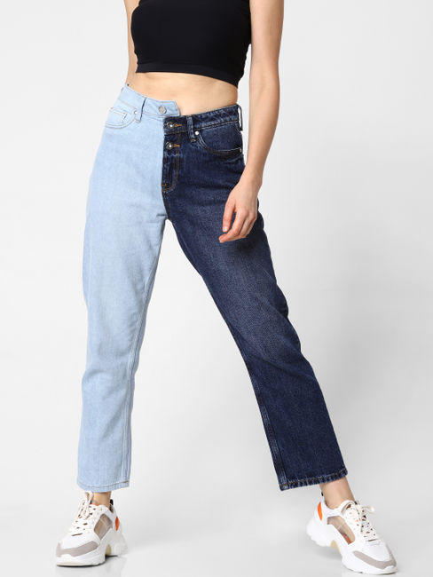 Blue High Rise Two Toned Straight Fit Jeans
