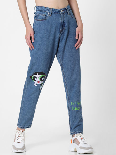 x The Powerpuff Girls Blue High Rise Buttercup Straight Fit Jeans