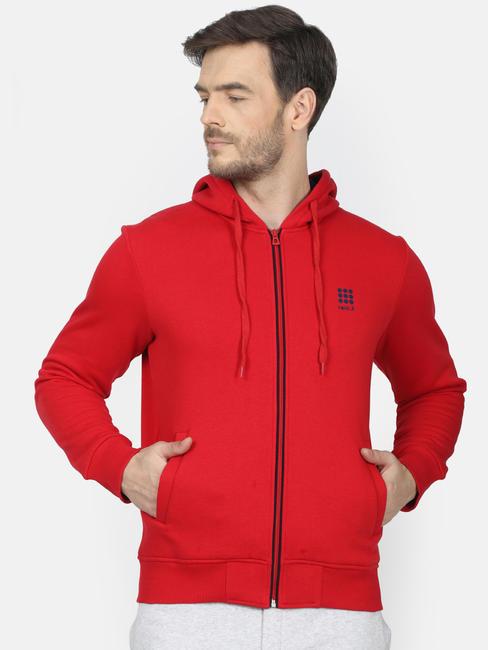 Rockit Red Hooded Regular Fit Sweatshirt