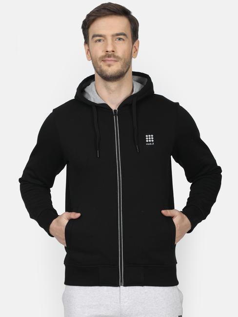 Rockit Black Hooded Regular Fit Sweatshirt