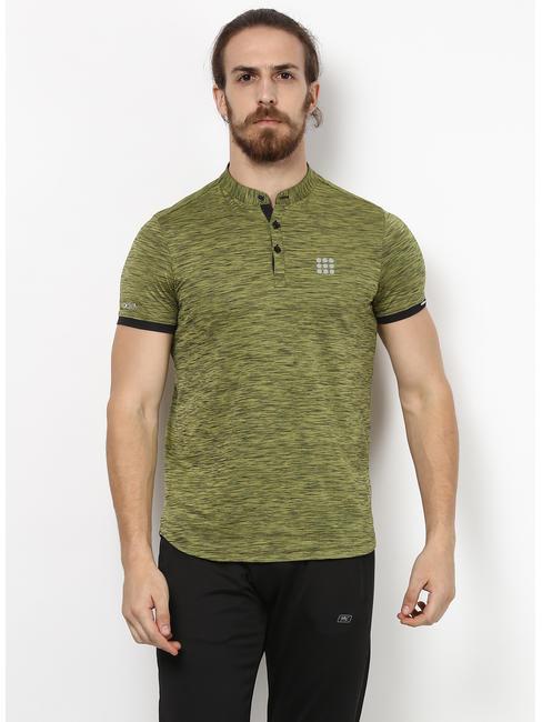 Rockit Olive F Neck Smart Fit T-Shirt