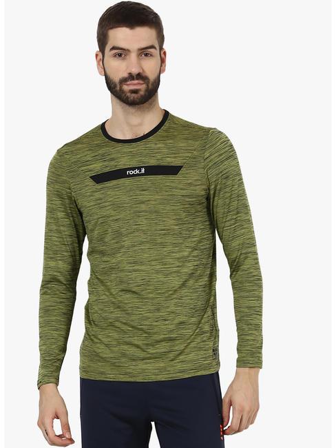 Rockit Olive Black Round Neck Smart Fit T-Shirt
