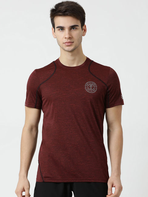 Rockit Mahroon Round Neck Regular Fit T-Shirt
