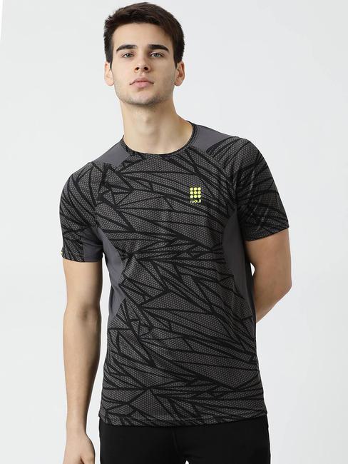 Rockit Black Round Neck Regular Fit T-Shirt